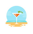 orange cocktail with mint on the beach flat icon vector image vector image