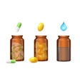 Pills Capsules in Medical Glass Bottle Set vector image vector image