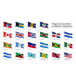 realistic waving flags of north america continent vector image