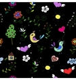 Seamless pattern with hearts birds and flowers vector image vector image