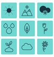 set of 9 harmony icons includes plant landscape vector image vector image
