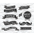 Set of retro ribbons and labels crumpled paper vector image