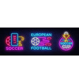 soccer collection neon signs football set vector image vector image