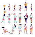 soccer player set flat isolated vector image