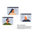 stay and work from home video conference vector image