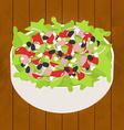 tuna salad on wood background vector image vector image
