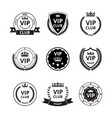 vip labels and badges with ribbon and crown set vector image vector image
