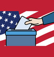 voters hand putting envelope in ballot box vector image