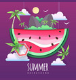 watermelon slice with sea or osean landscape vector image vector image