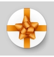 White Gift Box with Yellow Golden Bow and Ribbon vector image vector image