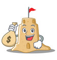 with money bag sandcastle character cartoon style vector image