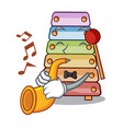 with trumpet colorful toy xylophone on mallets vector image