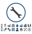 Wrench Flat Rounded Icon With Bonus vector image vector image