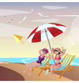 two young woman friends at beach vector image