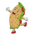 a cartoon happy burrito or kebab character vector image