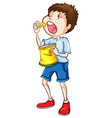 A simple sketch of a boy eating chips vector image vector image