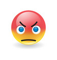 angry scowling round yellow and red emoticon vector image