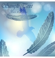 background with sky flying bird and feathers vector image vector image