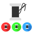 bobbin with needle thread icon flat vector image vector image