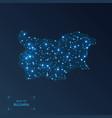 bulgaria map with cities luminous dots - neon vector image