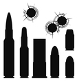 Bullet cartridge case and bullethole with cracks vector image