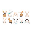 bundle funny bunny faces isolated on white vector image vector image