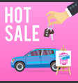 car sale banner with cartoon vector image