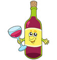 cartoon bottle of wine vector image