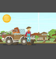 cartoon hunter with gun redneck car nature vector image