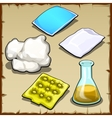 Chemist set of pillows cotton and flasks vector image vector image