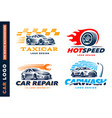 Collection logos car taxi service wash