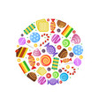 colored candies chocolate caramel cakes fruit vector image vector image