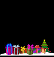 colourful gift boxes on white snow and black vector image vector image