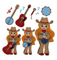 country musician cowboy music festival illu vector image vector image