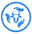 Cow care hands rounded grainy icon
