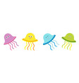 cute jellyfish set line happy family baby vector image vector image