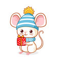 cute little mouse in a blue christmas hat is vector image