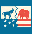 donkey and elephant on fractured flag vector image vector image
