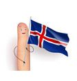finger with iceland waving flag vector image