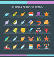 fish and seafood thin set vector image vector image