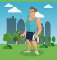 fitness man at park vector image vector image