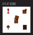 flat icon chocolate set of cocoa dessert sweet vector image vector image