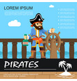 flat pirate adventure colorful poster vector image vector image