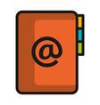 folder document with arroba symbol vector image vector image