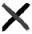 grayscale criss cross brushstroke delete sign vector image