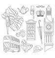 hand drawn doodle united kingdom set vector image