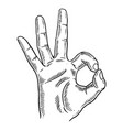 hand with ok gesture engraving vector image
