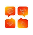 handshake globe and gps satellite icons vector image vector image