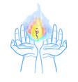 heavenly fire in the hands vector image vector image