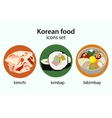 Korean food flat design icons set vector image